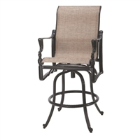 Gensun Grand Terrace Sling Swivel Bar Stool