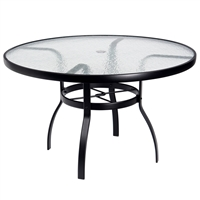 "Woodard 48"" Round Glass Top Table"