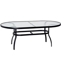 "Woodard 42"" X 74"" Oval Glass Top Table"