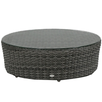 "Ratana Portofino Sectional 40"" Round Coffee Table w/Clear Glass"