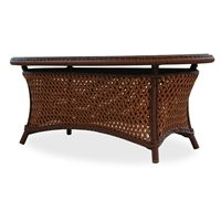 Lloyd Flanders Grand Traverse Oval Cocktail Table Woven Top w/ lay on glass